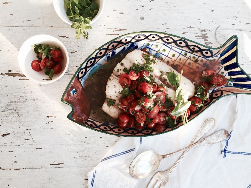 http://harvestandhoney.com/2015/03/30/roasted-snapper-with-spicy-cucumber-tomato-water-and-a-tomato-herb-salad/