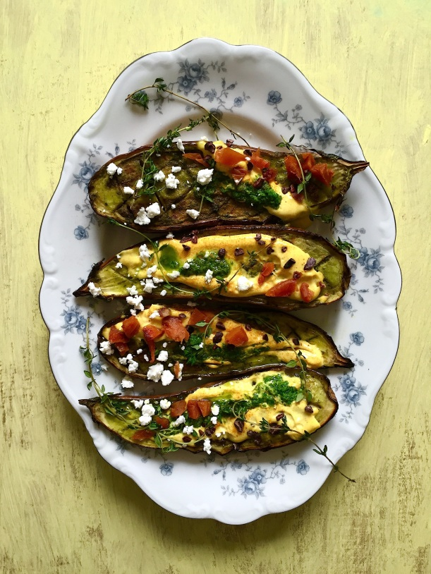 Roasted Eggplant with Curried Buttermilk Sauce and Dried Fruit