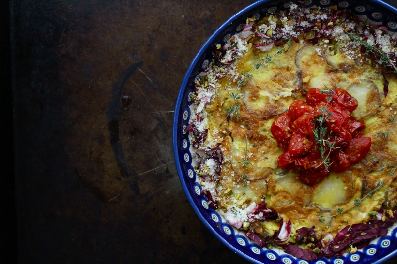 Spanish Tortilla with Honey Roasted Tomatoes