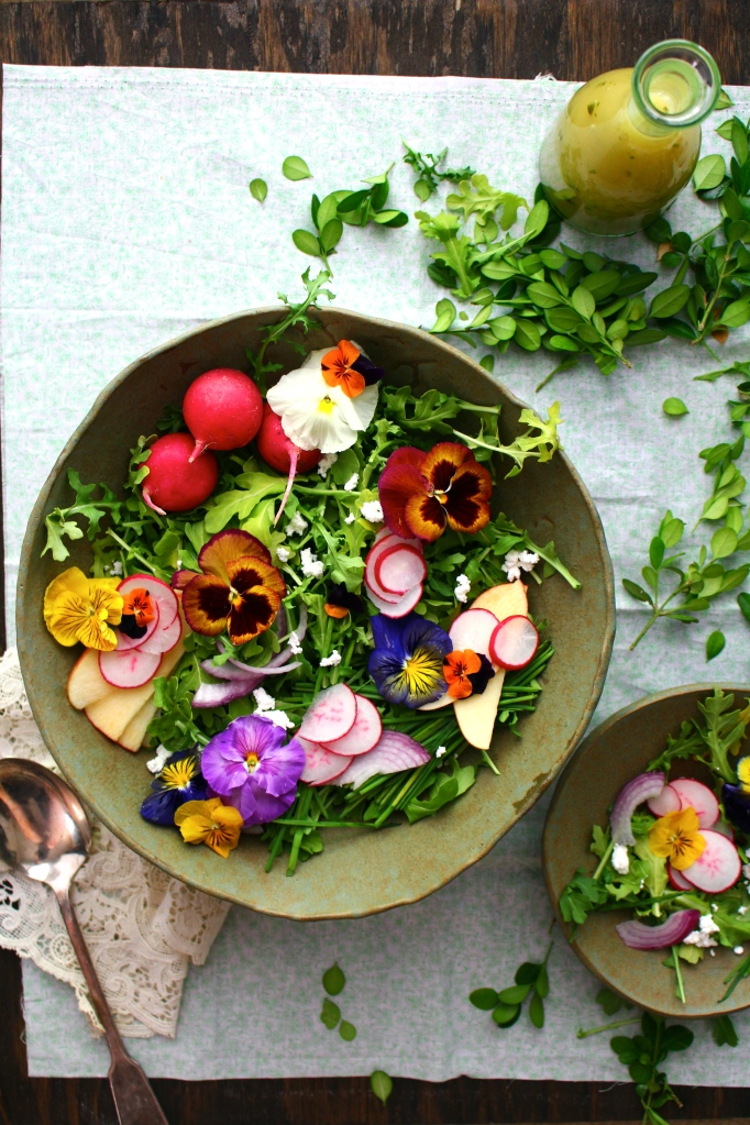 Wildflower & Arugula Salad with Orange Blossom Vinaigrette & Farmer's Cheese