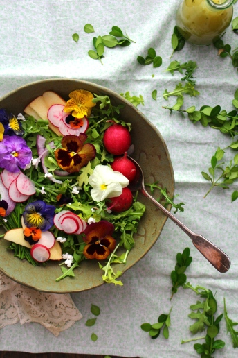 https://harvestandhoney.com/2015/06/03/wildflower-arugula-salad-with-orange-blossom-vinaigrette-farmers-cheese/
