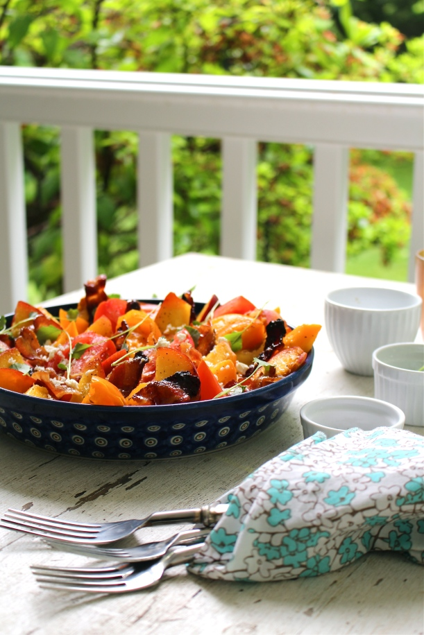 Peach & Tomato Salad with Candied Bacon and Creamy Basil-Mint Vinaigrette