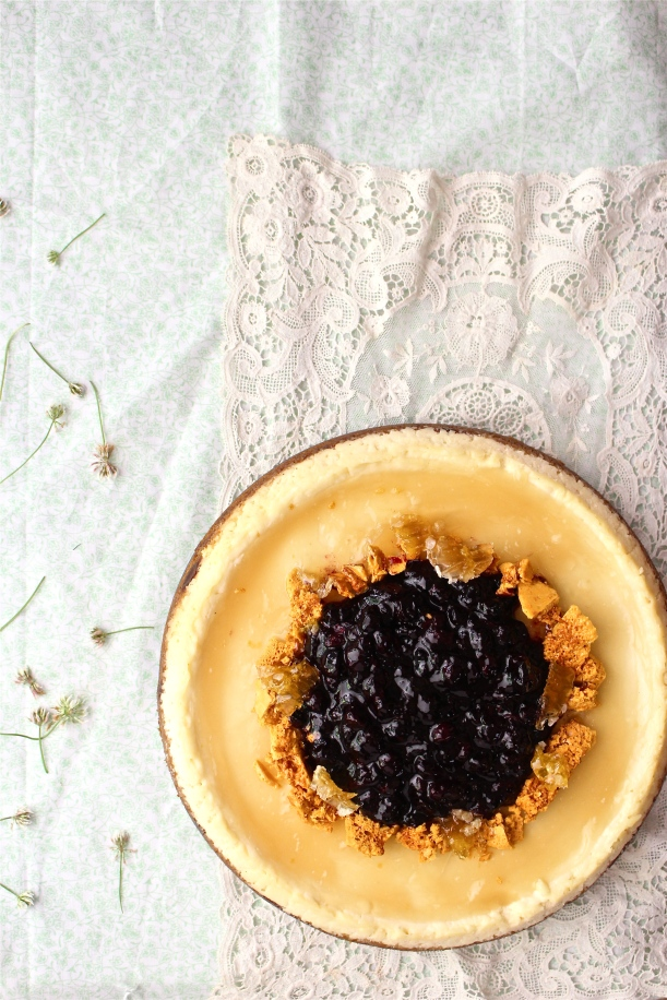 Lemon Cheesecake with Chamomile Glaze and Honeycomb Two Ways