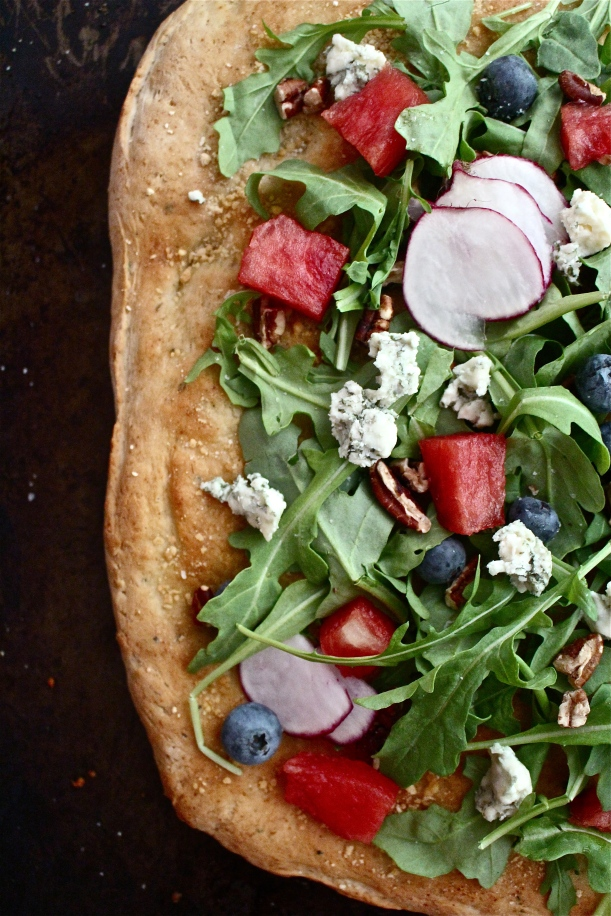 Watermelon, blue cheese & toasted pecan salad on homemade focaccia