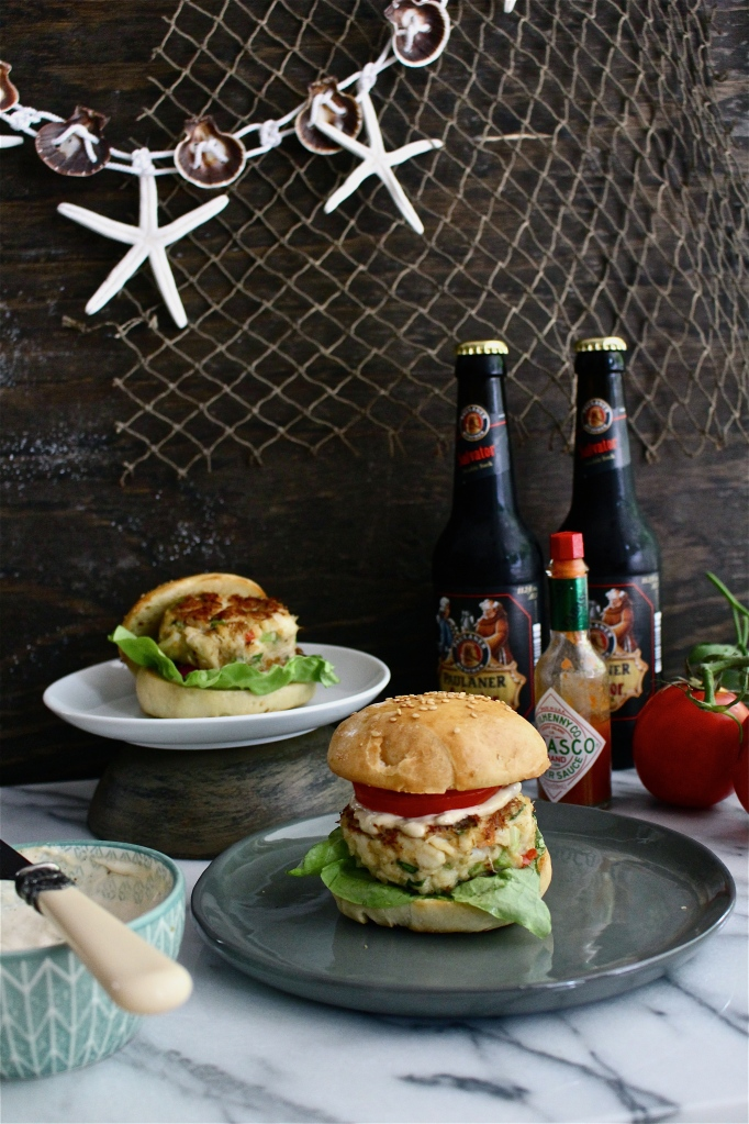 Fresh Crab Cake Sandwiches with Spicy Tartar Sauce and Homemade Sesame Seed Buns