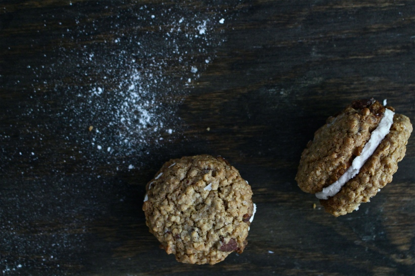 Chocolate Chunk Oatmeal Cream Pies with Cinnamon Cream & Sea Salt