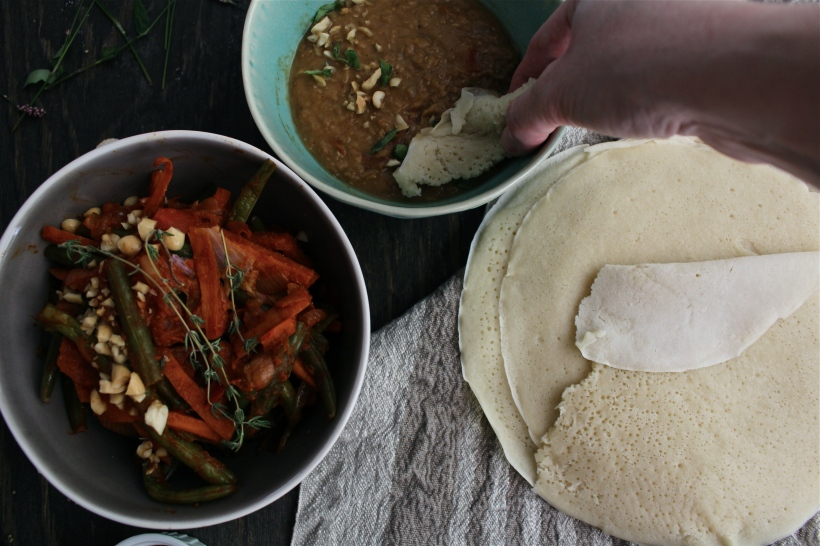 Homemade Injera Bread, Misir Wot and Fossolia