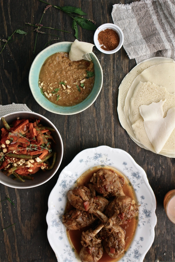 Doro Wot, Homemade Injera Bread, Misir Wot and Fossolia