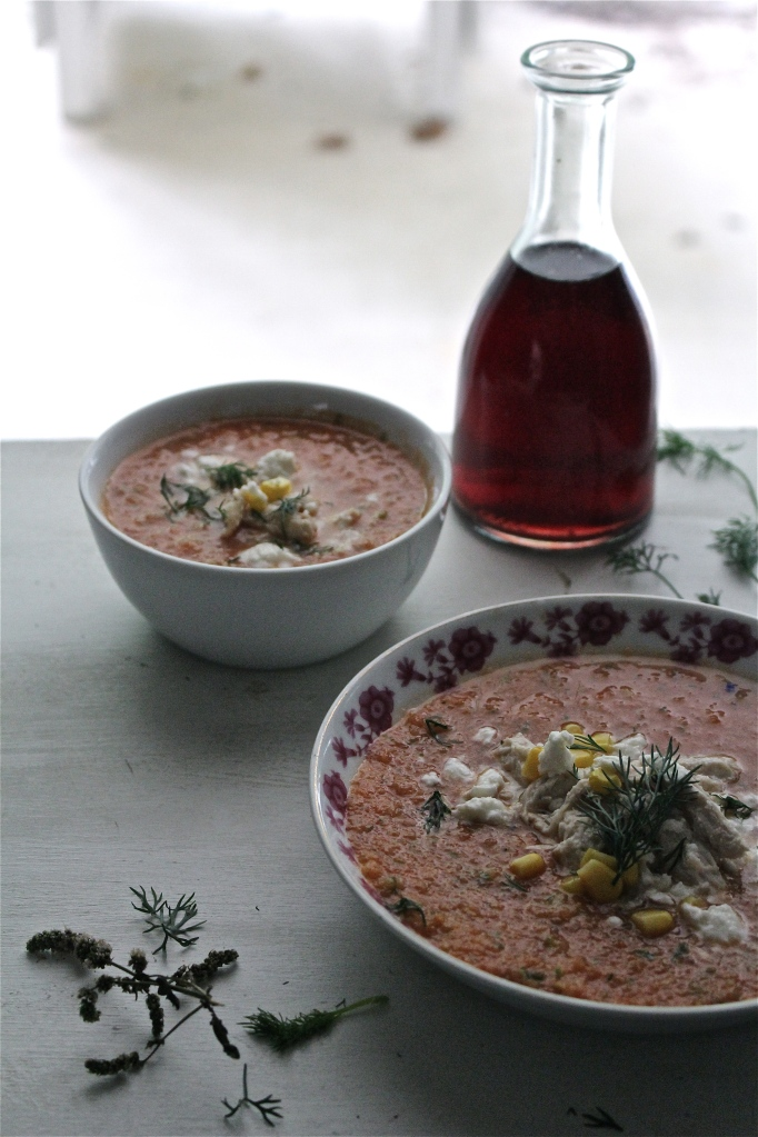Spicy Watermelon Gazpacho with Roasted Chicken and Feta