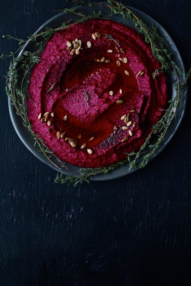 Roasted Beet & Sundried Tomato Hummus with Sunflower Seeds and Sumac