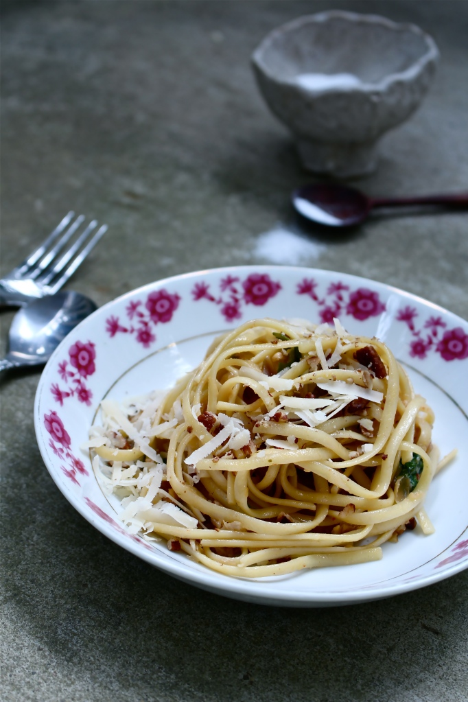 Sweet Onion Linguine with Anchovies, Arugula and Walnuts