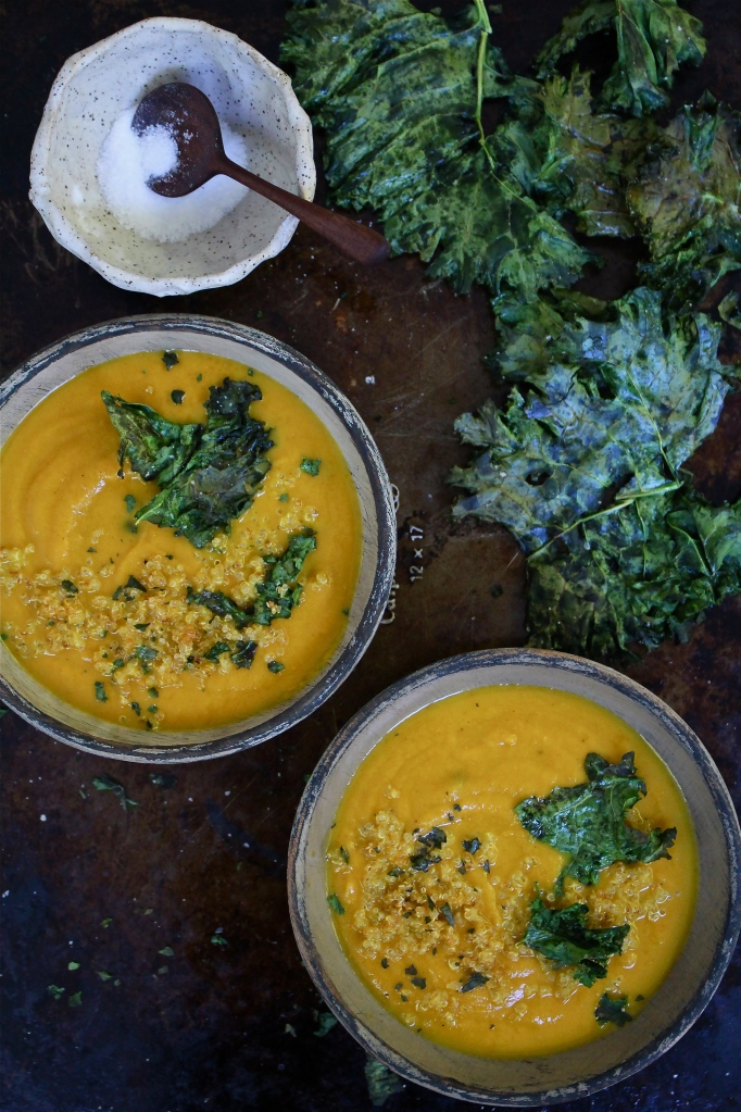 Pumpkin and Black Bean Soup with Crumbled Kale Chips and Crispy Quinoa