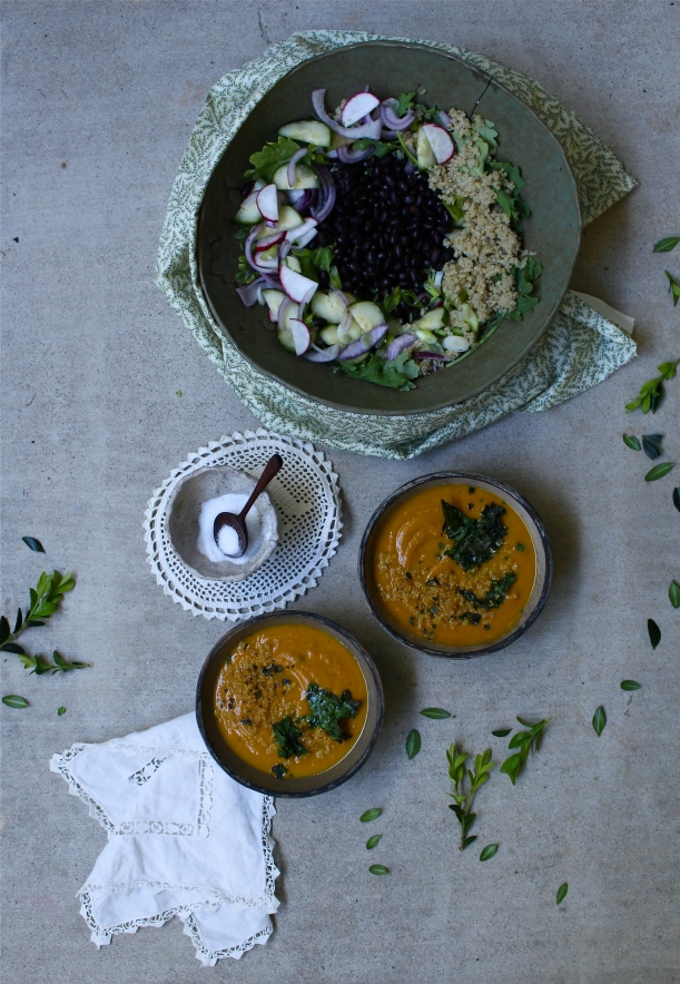 Pumpkin & Black Bean Soup and Kale, Black Bean & Quinoa Salad with Creamy Pumpkin Dressing