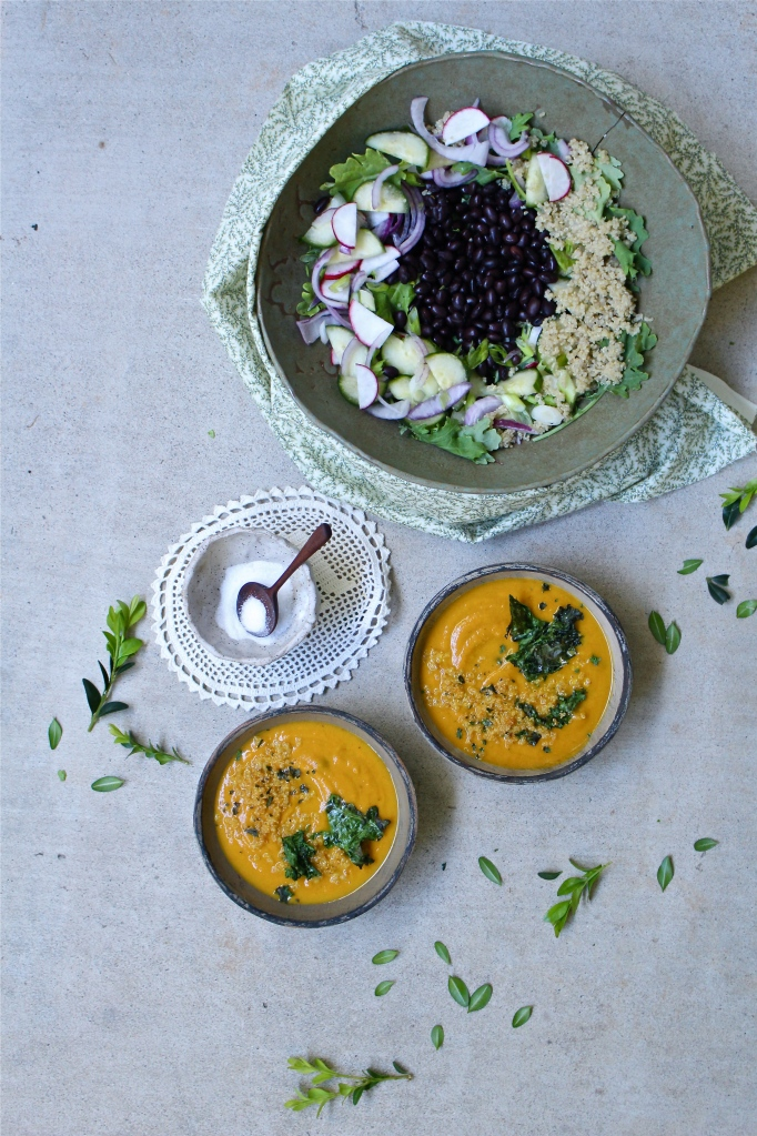 Pumpkin & Black Bean Soup and Kale, Black Bean & Quinoa Salad with Creamy Pumpkin Dressing