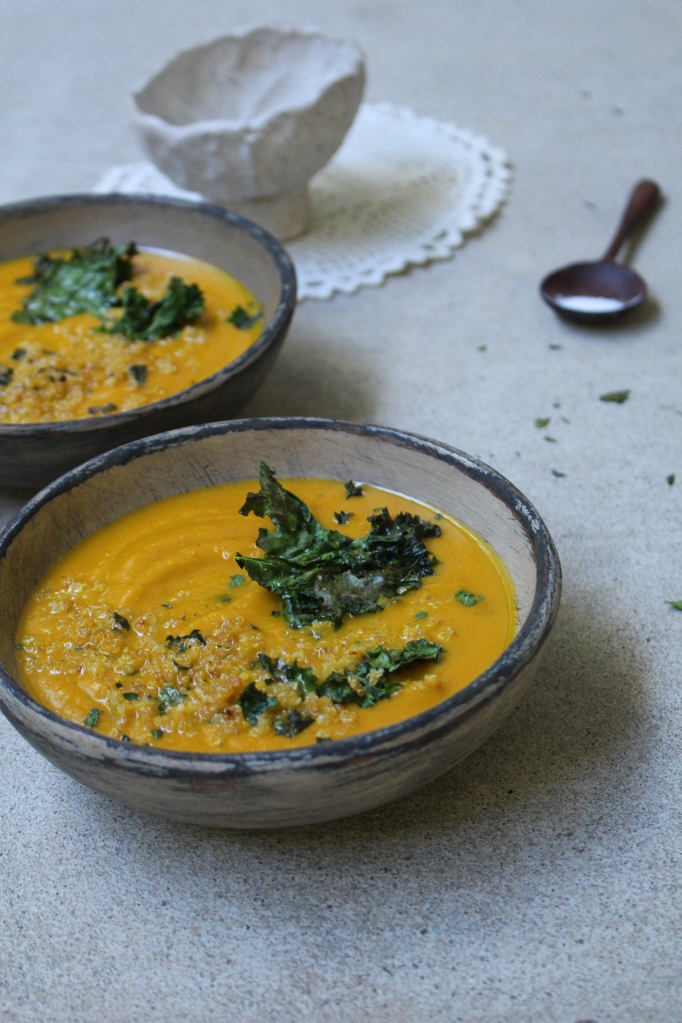 Pumpkin & Black Bean Soup with Crumbled Kale Chips and Crispy Quinoa