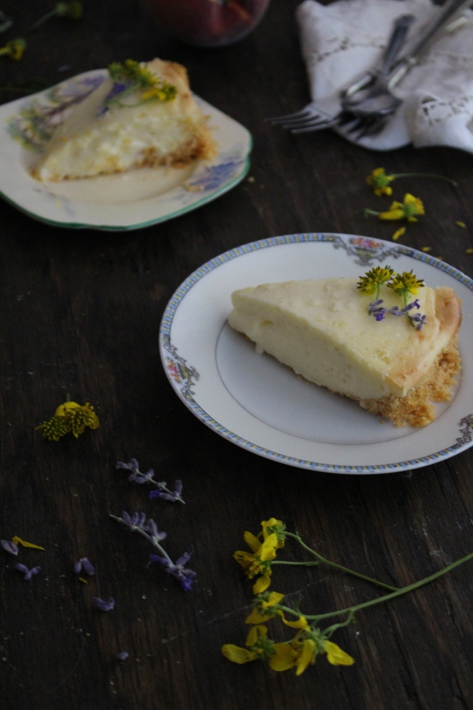 Peaches and Cream Pie with a Sweet & Salty Butter Cracker Crust