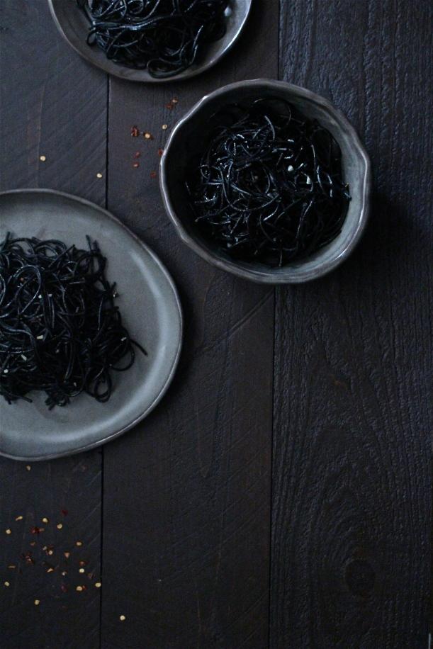 Squid Ink Spaghetti Aglio e Olio with Ghost Chili Salt