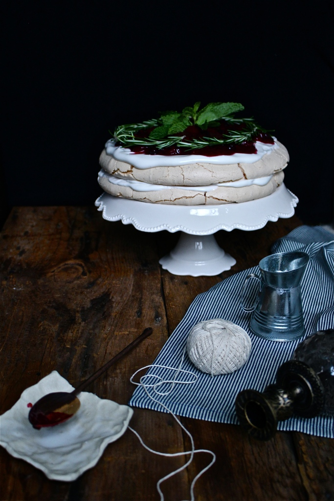 Double Layer Pavlova Cake with Marshmallow Cream Frosting