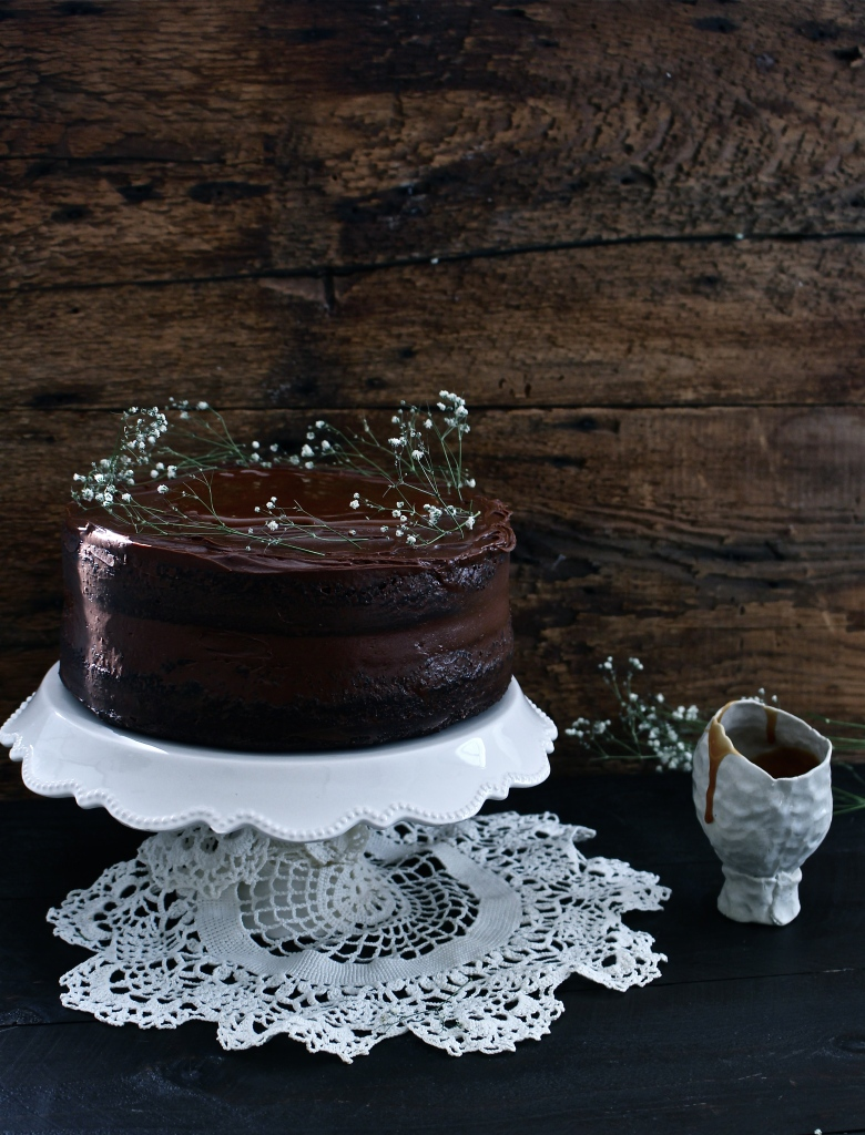 Best Ever Salted Caramel Dark Chocolate Cake