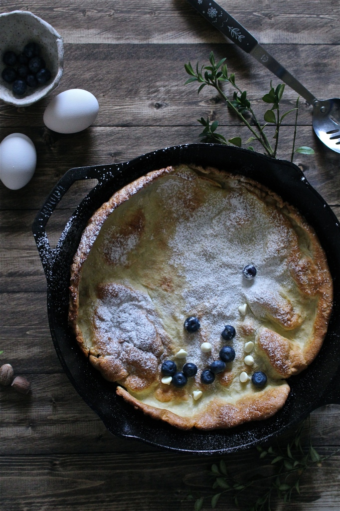 Classic Dutch Baby with White Chocolate and Blueberries