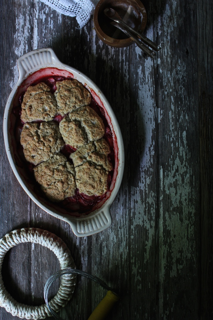 Strawberry Cobbler with a Rye and Coconut Flour Crust