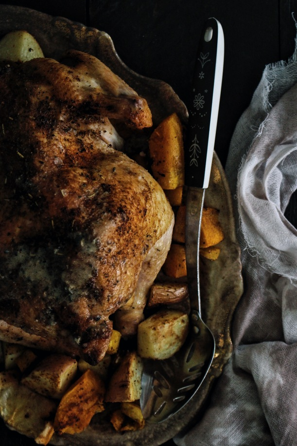 Spicy Roasted Chicken with Boozy Hot Sauce