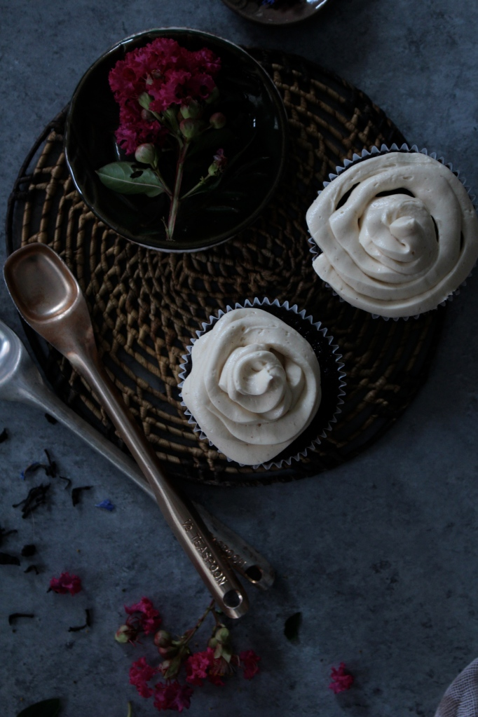 Chocolate London Fog Cupcakes with Honeyed Buttercream