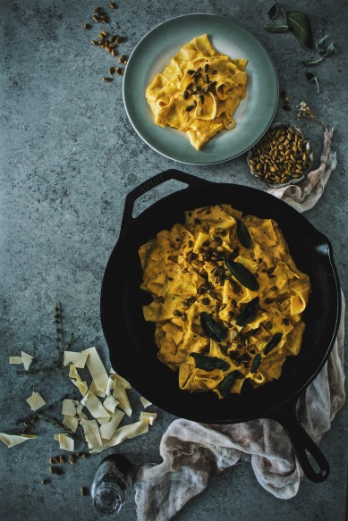 https://harvestandhoney.com/2016/10/24/truffled-pumpkin-pappardelle-alfredo-with-frizzled-sage/