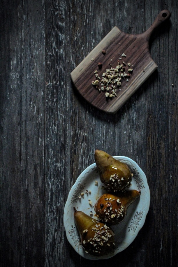 Balsamic Caramel Pears with Toasted Hazelnuts