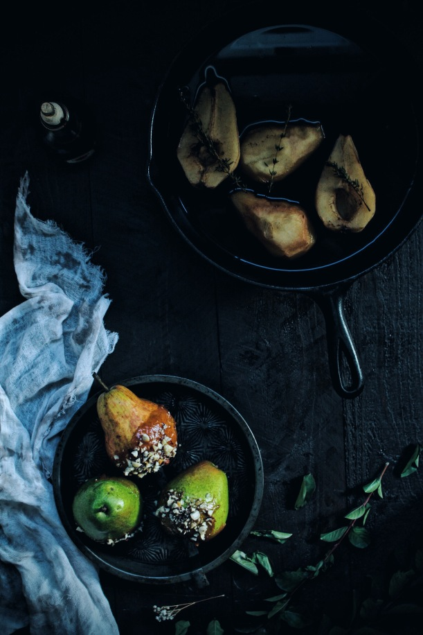 Balsamic Caramel Pears with Toasted Hazelnuts and Balsamic Poached Pears