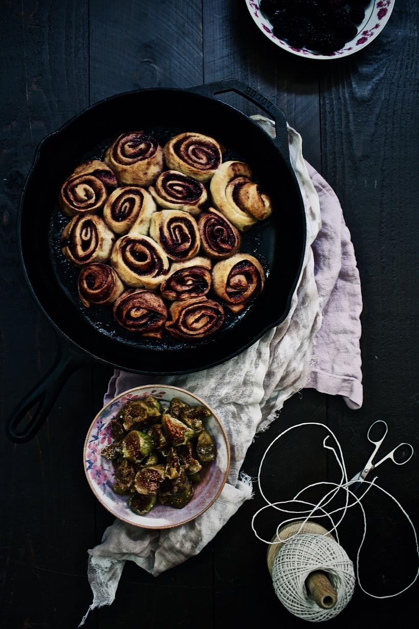 Blackberry & Fig Jam Buns with Sour Cream Glaze